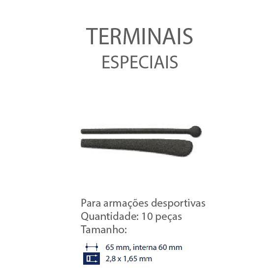 0200647-Terminal Esportivo Plano L=2,80mm Goma Preto Mod 647 FLAG E - Contém 10 Peças  - SOB ENCOMENDA