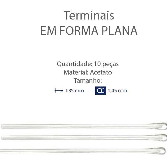 0200649 - Terminal 02 Comprido Espátula D=1,45mm Acetato Cristal Mod 649 FLAG E  -Contém 10 Peças