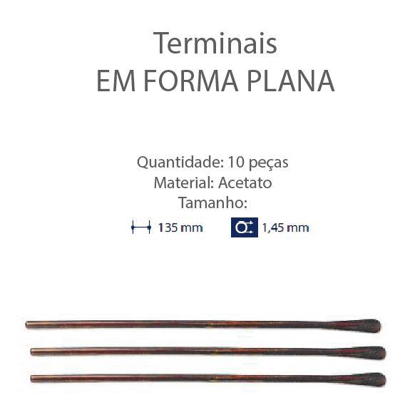 0200651 - Terminal 02 Comprido Espátula D=1,45mm Acetato Tartarugato Mod 651 FLAG E  -Contém 10 Peças