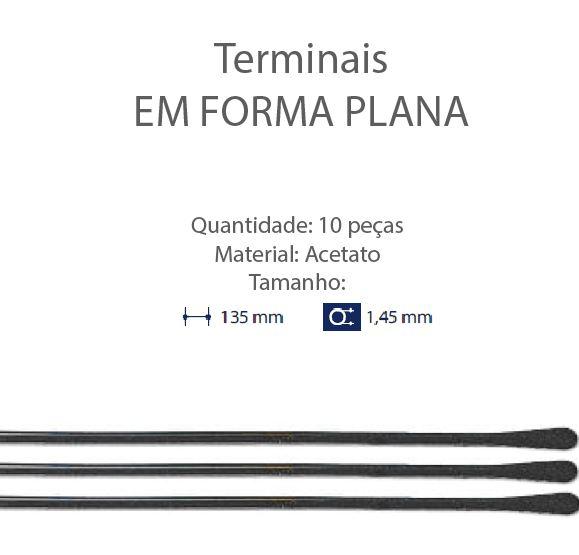0200653 - Terminal 02 Comprido Espátula D=1,45mm Acetato Pr Mod 653 FLAG E  -Contém 10 Peças