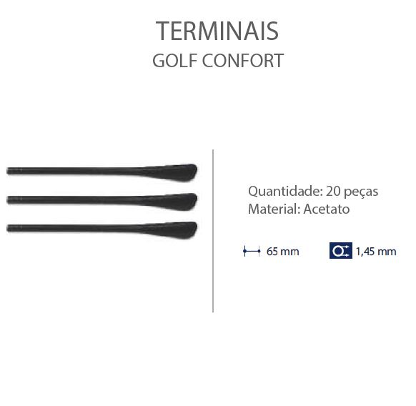 0200656 - Terminal 02 Golf D=1,45mm Acetato Preto Mod 656 FLAG E  -Contém 20 Peças
