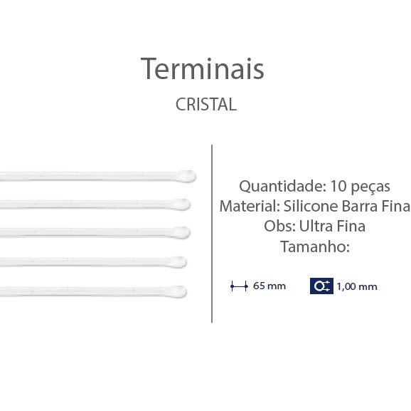 0200665 - Terminal Haste Titanio D=1,00mm Silicone Incolor Mod 665 FLAG E - Contém 10 Peças SOB ENCOMENDA