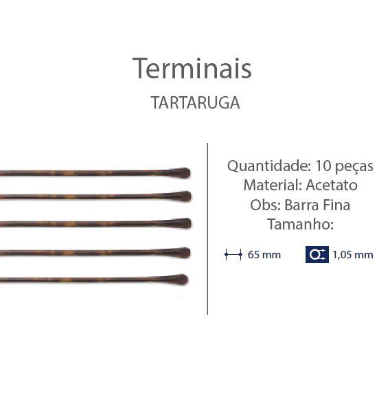 0200676 - Terminal 02 Haste Titanio D=1,05mm Acetato Tartarugato Mod 676 FLAG E  -Contém 10 Peças