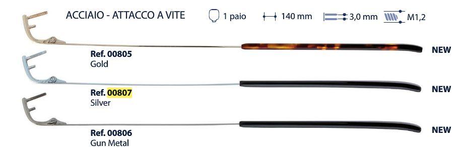 0200807-Haste Aço p/ Armações de Parafuso Prata Mod 807 FLAG E - Contém 1 Par  - ENTREGA IMEDIATA