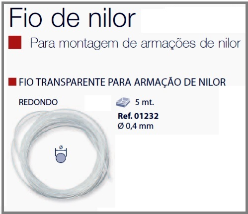 0201232 - Espessura Fio_Nylon D=0,4mm Cristal Mod 1232 FLAG 9  -Contém 5 Metros
