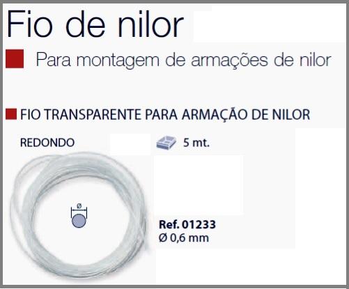 0201233 - Espessura 02 Fio_Nylon D=0,6mm Cristal Mod 1233  -Contém 5 Metros