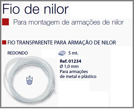 0201234 - Espessura Fio_Nylon D=1,0mm Cristal Mod 1234 FLAG E - Contém 5 Metros SOB ENCOMENDA