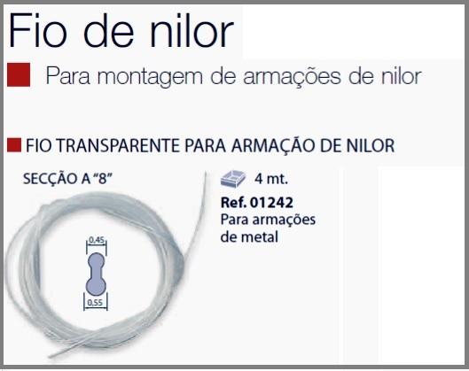 0201242 - Espessura 02 Fio_Nylon 8 D=0,45/0,55mm Cristal Mod 1242  -Contém 4 Metros