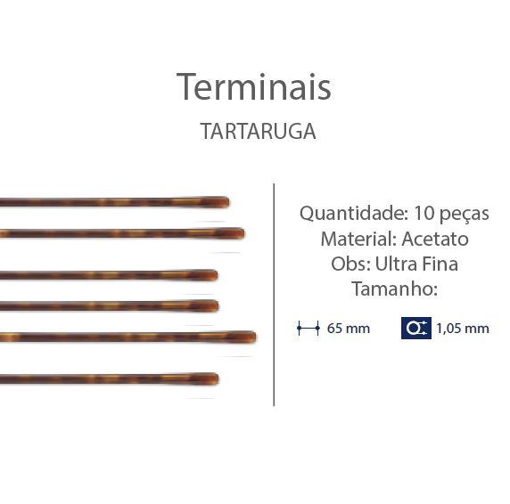 0201282 - Terminal Haste Titanio D=1,05mm Extrafino Acetato Tartarugato Mod 1282 FLAG 9 - Contém 10 Peças