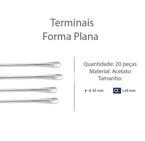 0201300-Terminal Espátula D=1,45mm Acetato Cristal Mod 1300 FLAG E - Contém 20 Peças  - ENTREGA IMEDIATA