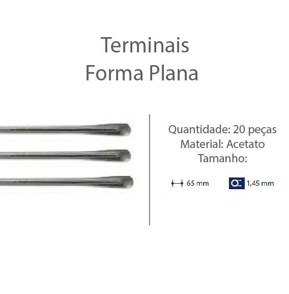 0201301 - Terminal Espátula D=1,45mm Acetato Fumê Mod 1301 FLAG E - Contém 20 Peças SOB ENCOMENDA