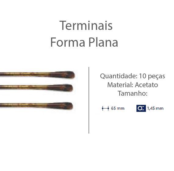 0201302 - Terminal Espátula D=1,45mm Acetato Tartaruga Mod 1302 FLAG E - Contém 10 Peças SOB ENCOMENDA
