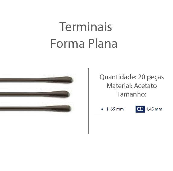 0201303 - Terminal Espátula D=1,45mm Acetato Marrom Mod 1303 FLAG E - Contém 20 Peças SOB ENCOMENDA