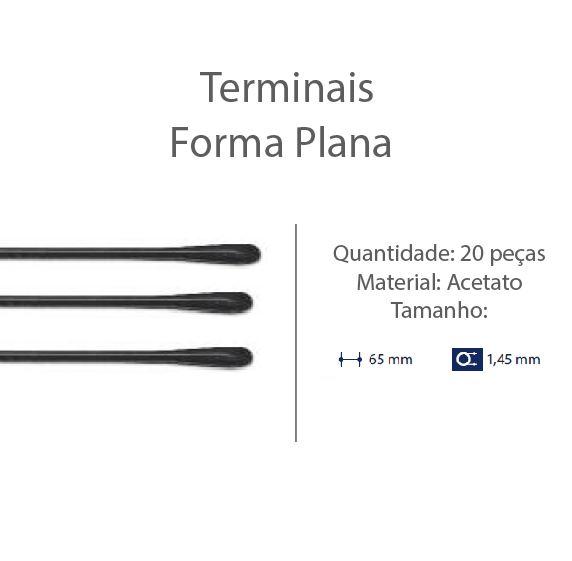 0201304 - Terminal 02 Espátula D=1,45mm Acetato Preto Mod 1304  -Contém 20 Peças