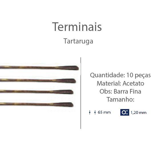0201312-Terminal Haste Aço D=1,20mm Acetato Tartarugato Mod 1312 FLAG E - Contém 10 Peças  - ENTREGA IMEDIATA
