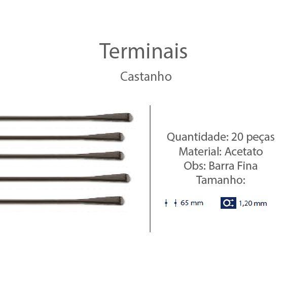 0201313 - Terminal 02 Haste Aço D=1,20mm Acetato Marrom Mod 1313  -Contém 20 Peças