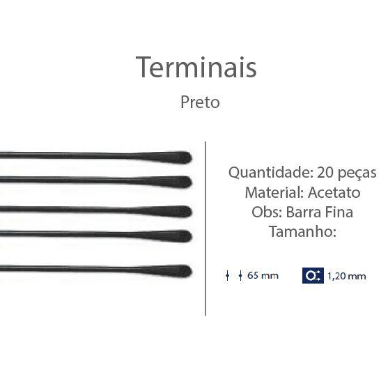 0201314-Terminal Haste Aço D=1,20mm Acetato Preto Mod 1314 FLAG E - Contém 20 Peças  - SOB ENCOMENDA