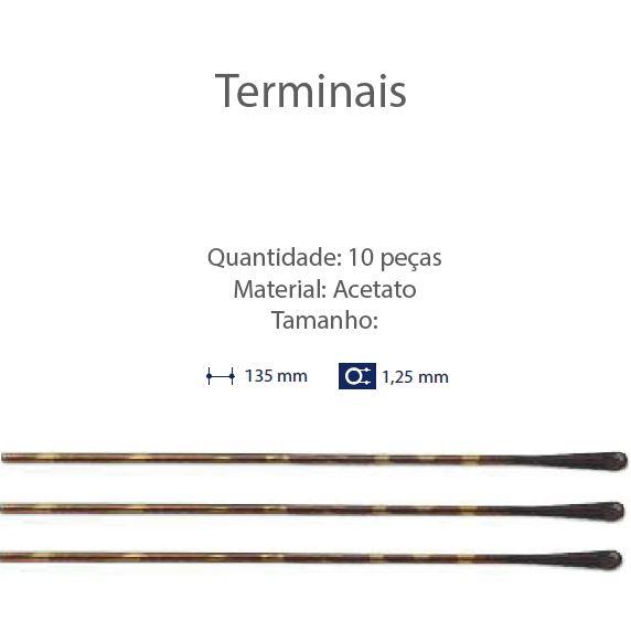 0201322 - Terminal Comprido Haste Aço D=1,25mm Acetato Tartarugato Mod 1322 FLAG 9  -Contém 10 Peças