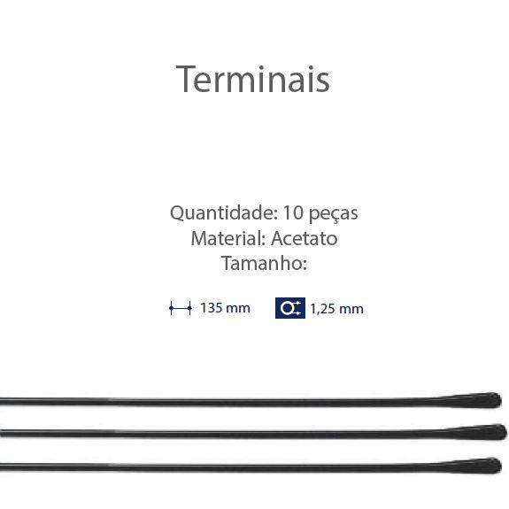 0201324 - Terminal Comprido Haste Aço D=1,25mm Acetato Preto Mod 1324 FLAG 9 - Contém 10 Peças