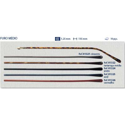 0201326 - Terminal Comprido Haste Aço D=1,25mm Acetato Rubi Mod 1326 FLAG 9 - Contém 10 Peças