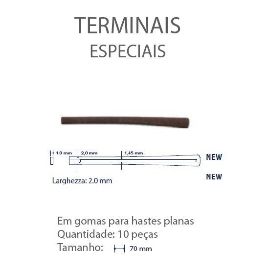 0201328-Terminal Haste Plana L=2,00mm Goma Marrom Mod 1328 FLAG E - Contém 10 Peças  - SOB ENCOMENDA