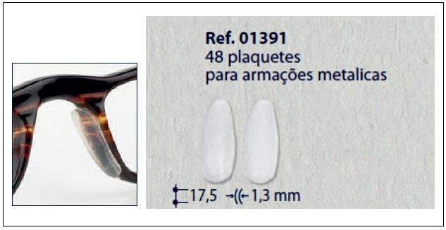 0201391 - Plaqueta Adesiva Silicone para Metal Mod 1391  -Contém 48 Peças