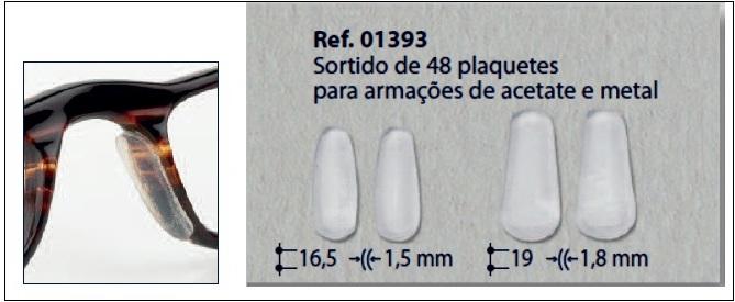 0201393 - Plaqueta Adesiva Silicone para Acetato Mod 1393  -Contém 48 Peças