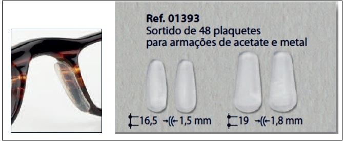 0201393 - Plaqueta 02 Adesiva Silicone para Acetato Mod 1393 -Contém 48  Peças 9fb600edd3