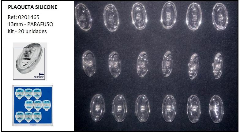0201465 - Plaqueta 02 Silicone/Parafuso Oval 13mm Mod 1465  -Contém 20 Peças