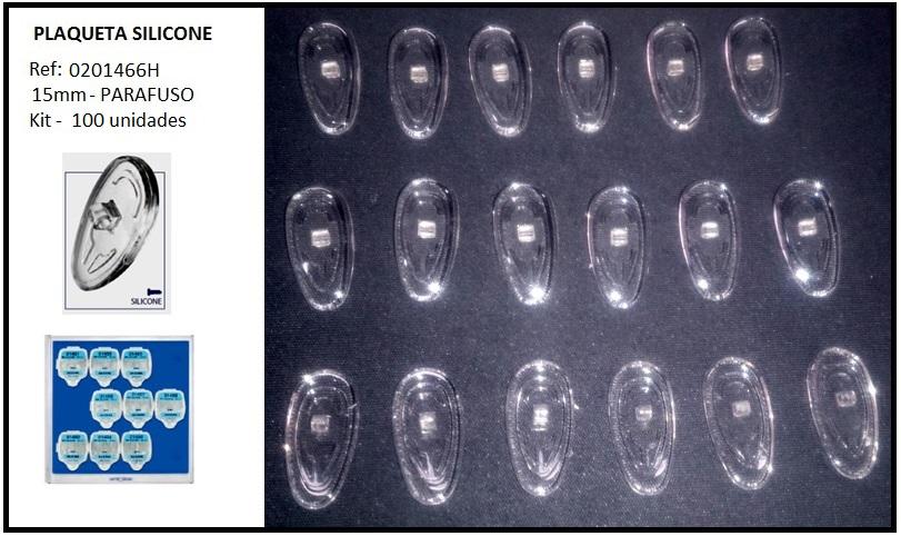 0201466H - Plaqueta 02 Silicone/Parafuso Gota 15mm Mod 1466H  -Contém 100 Peças