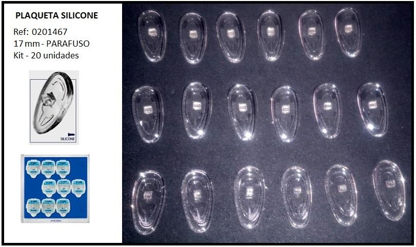 0201467 - Plaqueta 02 Silicone/Parafuso Gota 17mm Mod 1467  -Contém 20 Peças