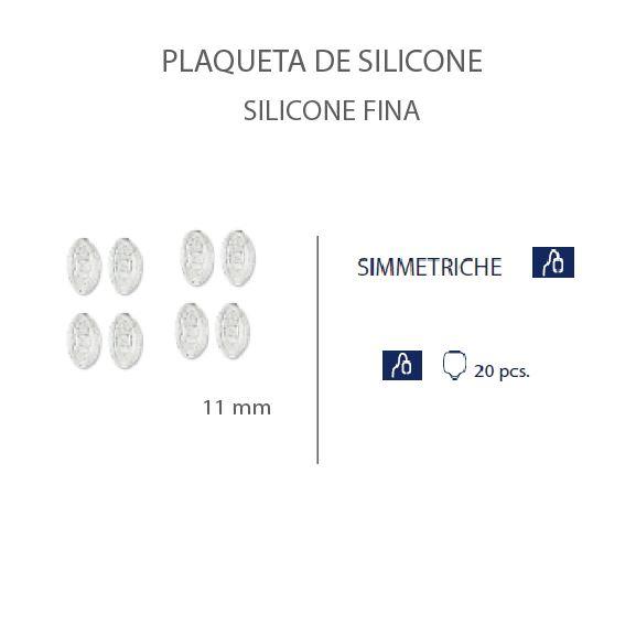 0201476 - Plaqueta 02 Slim Silicone/Encaixe Oval 11mm Mod 1476 FLAG E  -Contém 20 Peças