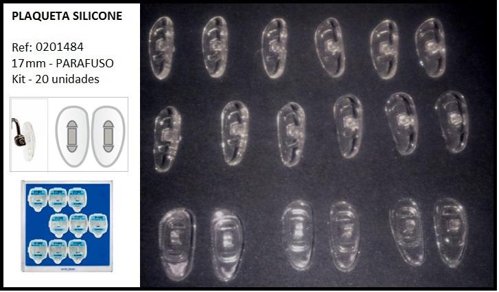 0201484-Plaqueta Silicone/Parafuso D-Shape 17mm Mod 1484 FLAG E - Contém 20 Peças  - ENTREGA IMEDIATA
