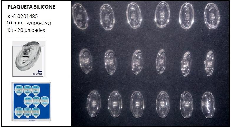 0201485 - Plaqueta 02 Silicone/Parafuso Oval 10mm Mod 1485  -Contém 20 Peças