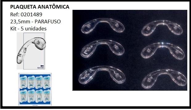 0201489-Plaqueta Silicone/Parafuso Ponte Anatomica 23,5mm Mod 1489 FLAG E - Contém 5 Peças  - ENTREGA IMEDIATA