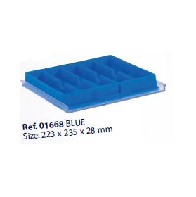 0201668-Organizador LabSystem Bandeja Caixa Azul 5Div Mod 1668 FLAG E - Contém 1 Peça  - ENTREGA IMEDIATA