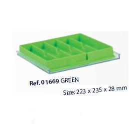 0201669-Organizador LabSystem Bandeja Caixa Verde 5Div Mod 1669 FLAG E - Contém 1 Peça  - SOB ENCOMENDA