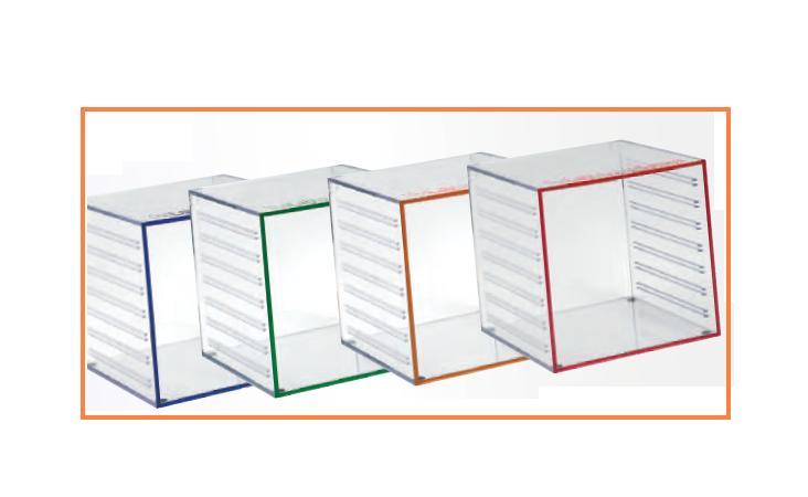 0201675-Organizador Kit LabSystem 4 Cubos Acrílico Mod 1675 FLAG E - Contém 4 Peças  - SOB ENCOMENDA