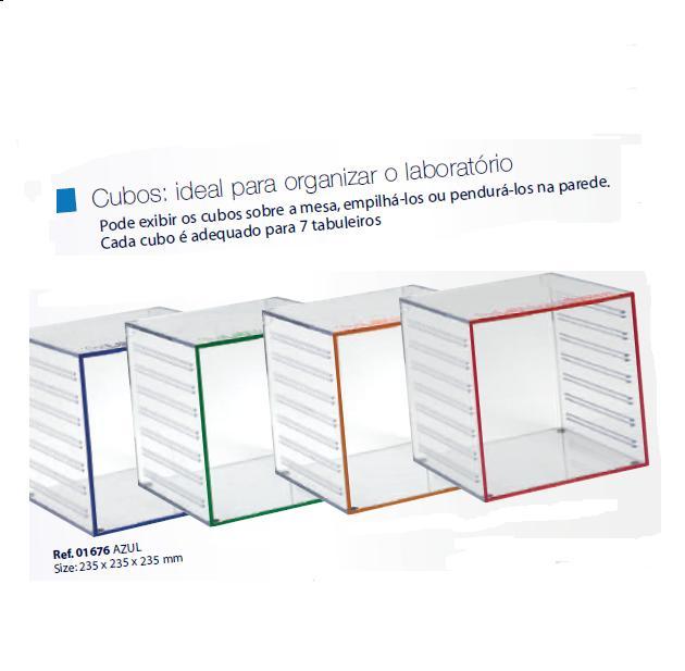0201676 - Organizador LabSystem Cubo Azul Mod 1676 FLAG E - Contém 1 Peça SOB ENCOMENDA