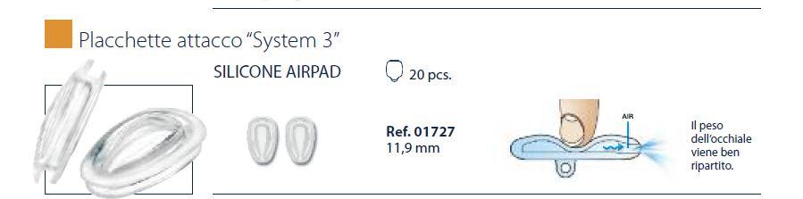 0201727 - Plaqueta 02 Ar Silicone/Encaixe System3 Gota 11,9mm Mod 1727  -Contém 20 Peças