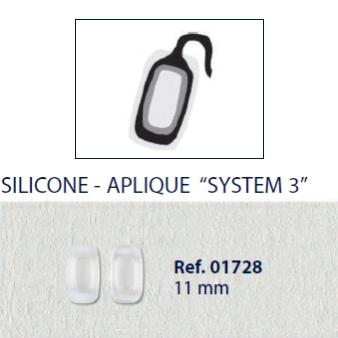 0201728 - Plaqueta 02 Silicone/Encaixe System3 Quadrada 11,0mm Mod 1728  -Contém 20 Peças