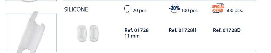 0201728H - Plaqueta 02 Silicone/Encaixe System3 Quadrada 11,0mm Mod 1728H FLAG E  -Contém 100 Peças