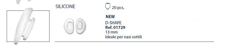 0201729 - Plaqueta 02 Silicone/Encaixe System3 D-Shape 13,0mm Mod 1729  -Contém 20 Peças