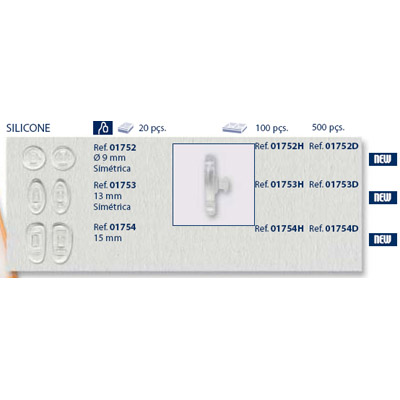 0201752 - Plaqueta 02 Silicone/Encaixe Primadonna Redonda 9mm Mod 1752 FLAG E  -Contém 20 Peças