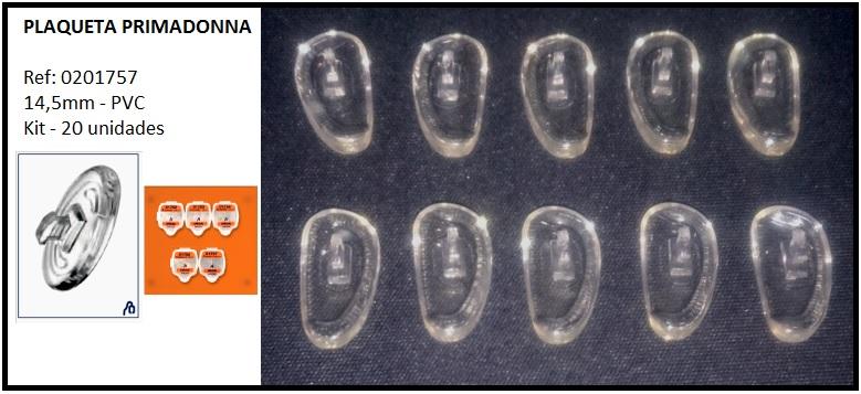 0201757 - Plaqueta PVC/Encaixe Primadonna D-Shape 14,5mm Mod 1757 FLAG E - Contém 20 Peças SOB ENCOMENDA