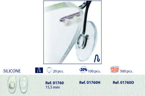 0201760 - Plaqueta 02 Silicone/Encaixe Especial Quadrada 15,5mm Mod 1760  -Contém 20 Peças