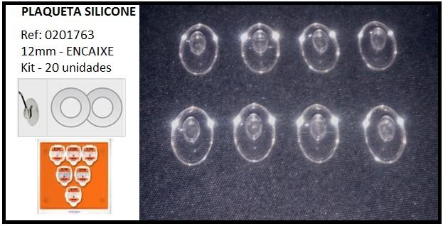 0201763 - Plaqueta 02 Silicone/Encaixe Especial Oval 12,0mm Mod 1763  -Contém 20 Peças
