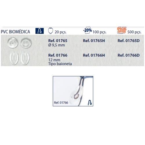 0201765H - Plaqueta 02 PVC/Encaixe Especial Redonda 9,5mm Mod 1765H  -Contém 100 Peças