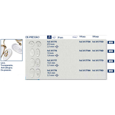 0201775 - Plaqueta 02 PVC+Poli/Encaixe Redonda 9,0mm Mod 1775 FLAG 9  -Contém 20 Peças