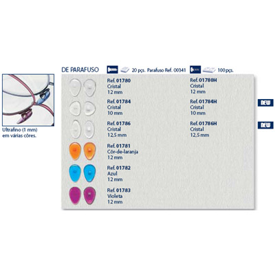 0201784 - Plaqueta Poli/Parafuso D-Shape 10,0mm Mod 1784 FLAG 9  -Contém 20 Peças